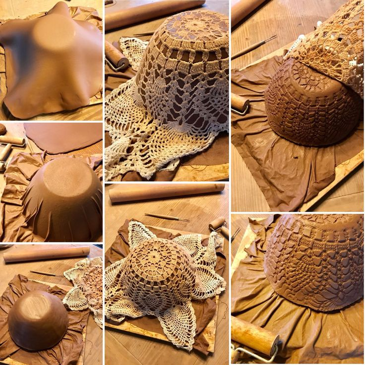 Rustic serving bowls made from antique crocheted doilies impressions in the sides. Each one is handmade one at a time in Vermont, and no two are ever the same. Custom order amount and colors you want.