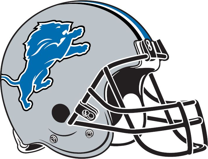 Detroit Lions New Logo | Detroit Lions Helmet Logo (2009) - Silver helmet with blue, white and ...