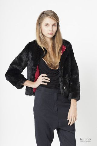 short depilated black rabbit jacket – horovitz