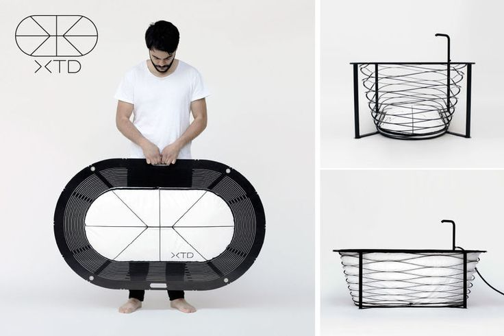 Collapsible Bathtubs - The 'XTEND' Portable Bathtub by Carina Deuschl is Impossibly Thin in Design (GALLERY)