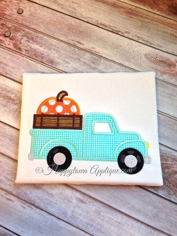 Pumpkin Truck Machine Applique Design by HappytownApplique on Etsy, $4.00
