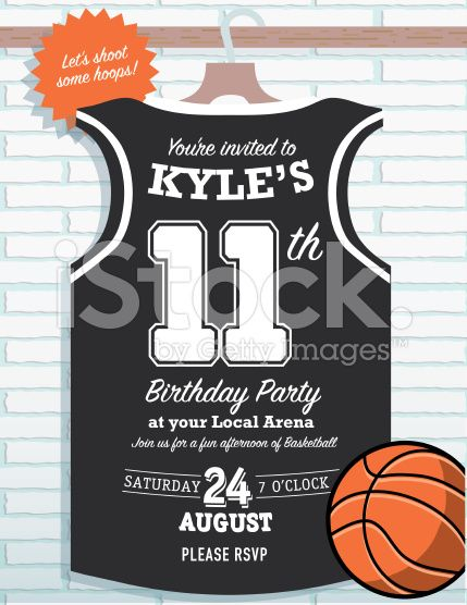 Boys Birthday party basketball jersey themed invitation design royalty-free stock vector art