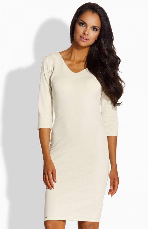 Lemoniade L228 sukienka beżowa Stylowa sukienka damska, dopasowany krój, dekolt w szpic, rękaw o długości 3/4