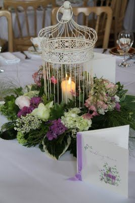 Flower Design Table Centrepieces: Vintage Bird Cage Table Centrepiece