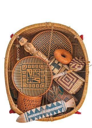 cestaria indígena com motivos geométricos