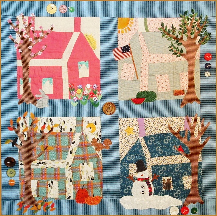"""""""Four Seasons"""" rescue quilt by Glenna Hailey at Hollyhock Quilts: the house blocks were from a vintage quilt top"""