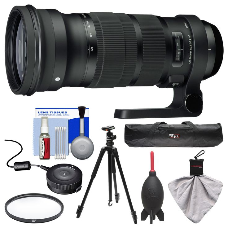 Sigma 120-300mm f/2.8 Sports DG APO OS HSM Zoom Lens with USB Dock + Tripod + UV Filter + Kit for Canon EOS Digital SLR Cameras. KIT INCLUDES 8 PRODUCTS -- All BRAND NEW Items with all Manufacturer-supplied Accessories + Full USA Warranties:. [1] Sigma 120-300mm f/2.8 Sports DG APO OS HSM Zoom Lens (for Canon EOS Cameras) + [2] Sigma USB Dock +. [3] Vanguard Espod 203AB Tripod + [4] 22-inch Tripod Carrying Case +. [5] Vivitar 105mm MC UV Filter + [6] PD 5pc Complete Cleaning Kit +. [7]...