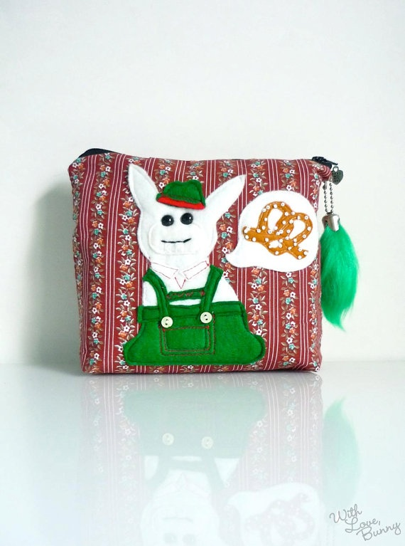 Bunny Pouch  Oktoberfest Bavarian Bunny  Zippered by withlovebunny, $40.00  #okt…