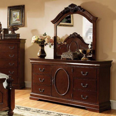 Velda II Traditional Dresser, Brown Cherry, Red