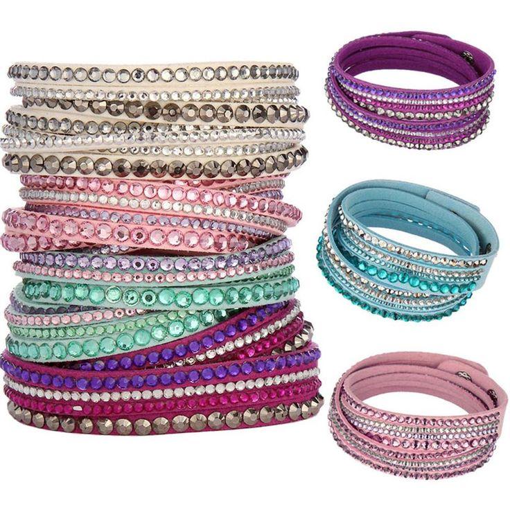 Женщины мода европейский шарм горный хрусталь кристалл кожаные браслеты и браслеты для женщины дружба подарок ювелирных изделий купить на AliExpress