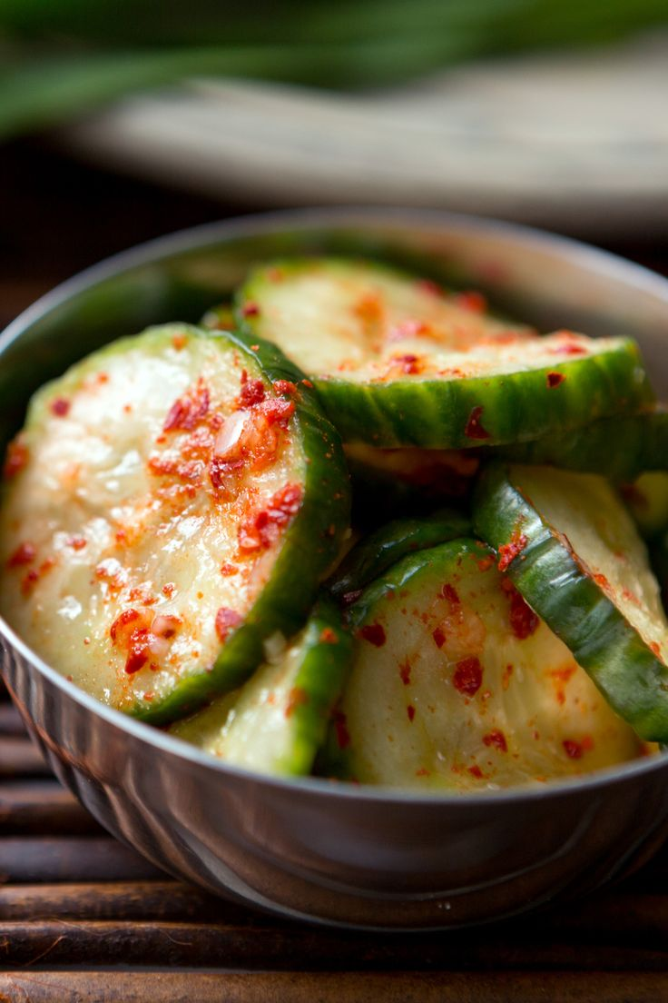 """Spicy Marinated Cucumbers (Oee Muchim) by Hooni Kim 