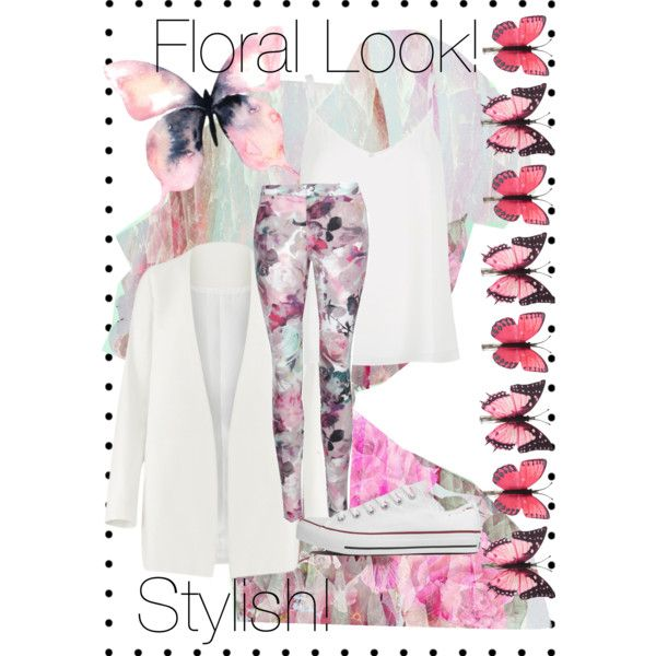 Floral Look! by mafuja15 on Polyvore featuring polyvore, fashion, style, River Island, Converse, Accessorize and Oliver Gal Artist Co.