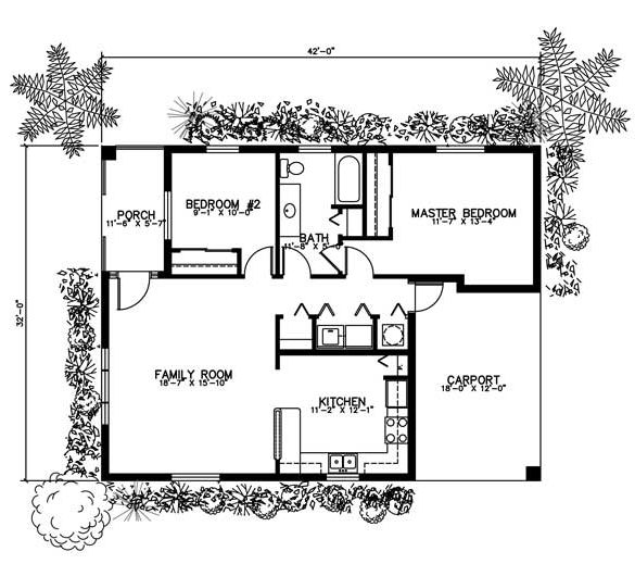 First Floor Plan of House Plan 55700