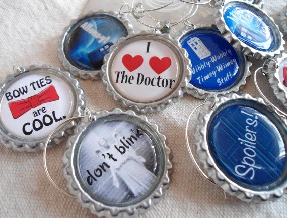 Doctor Who Wine Glass Charms - set of 10