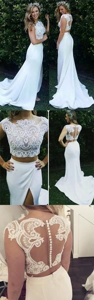 New Arrival Two Piece Lace  Most Popular Modest Custom handmade Wedding Dresses,  WD0335