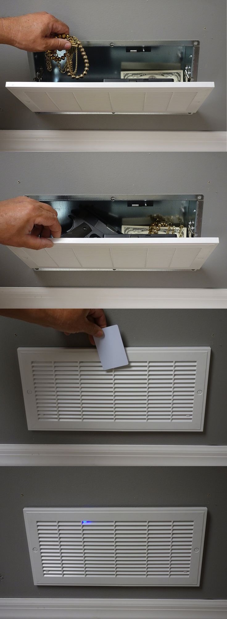 Vent Safe with RFID Lock. Store your valuables in plain sight, without having to memorize any numbers.