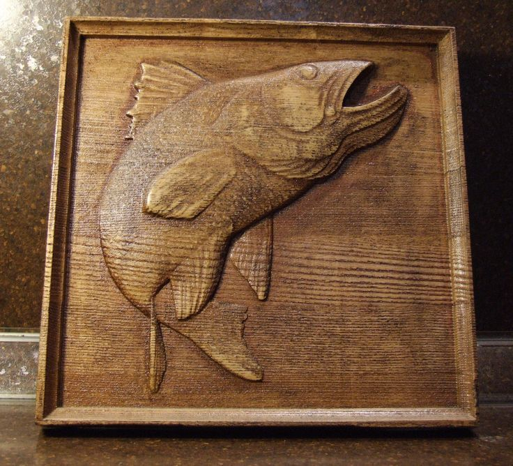 "Carved wooden picture ""Fish"" Ready for shipping. Size 18 * 180 * 180 mm. $35.00"