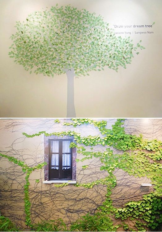 Post-it like leaf-shaped stickers (and there are several kinds, from ivy to gingko) for making these indoor displays.