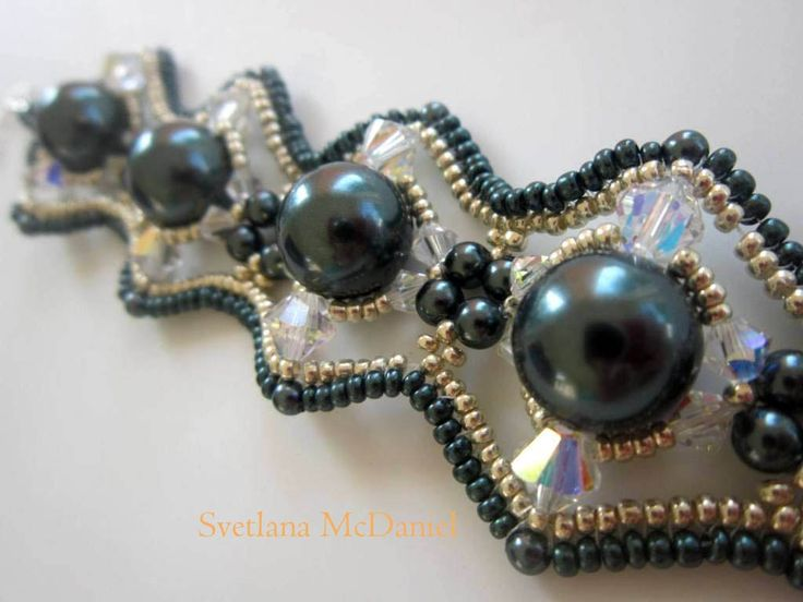 Beaded Bracelet Tahitian Swarovski pearl crystals seed beads. Russian video with English subtitles