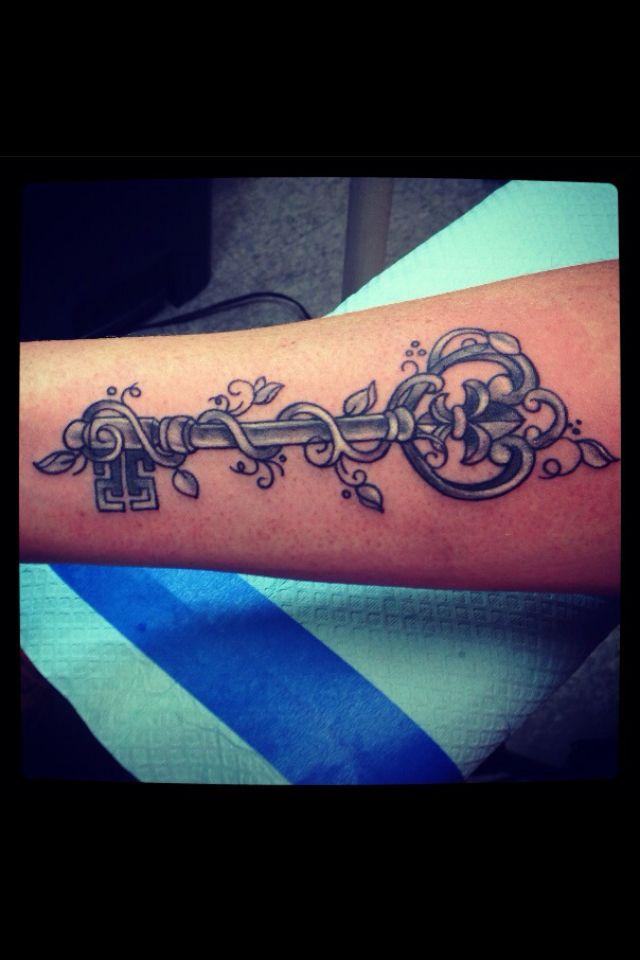 My Key tattoo with flur de lis and filigree !! Done by Tiara at American Skin Art Tonowanda ny - on Char Starr
