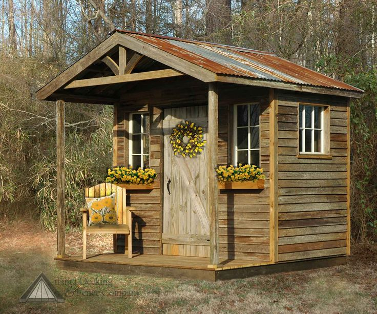 40 best backyard storage ideas images on pinterest sheds for Rustic shed with porch