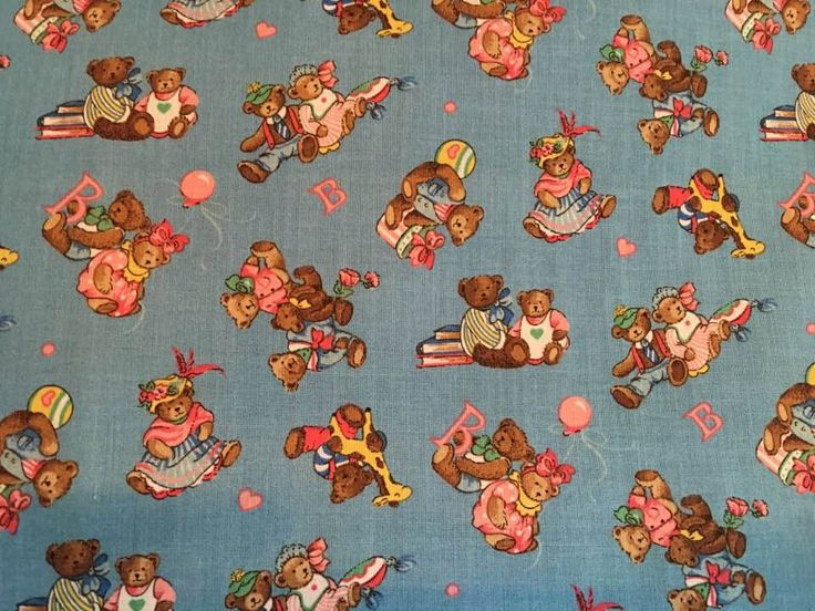 Vintage Fabric Teddy Bears & Toys on Turquoise Quilt Block Quilting Sewing Craft by AlwaysInStitchesCo on Etsy