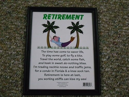 Happy Retirement Plaque Gag Gift Framed Riddle Party