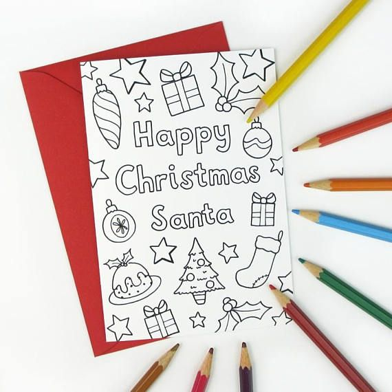 Printable Colour in 'Happy Christmas Santa' Card - kids colouring activity - colour in and write a message to Santa inside! Instant Download, available from hfcSupplies Etsy.