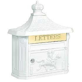 """Victorian Mailbox (White) by Victorian. $145.00. Mail flap: 10-3/4'' W x 2-1/4'' H. 15-3/4'' W x 20'' H x 5-3/4'' D. Made of cast aluminum, surface mounted Victorian mailboxes are available in seven contemporary colors and include a 10-3/4'' W x 2-1/4'' H brass mail flap with the word """"LETTERS"""" engraved into it. Surface mounted Victorian mailboxes include a front access 10-3/4'' W x 6'' H door and a lock with two (2) keys. A non-locking thumb latch is available as an option ..."""