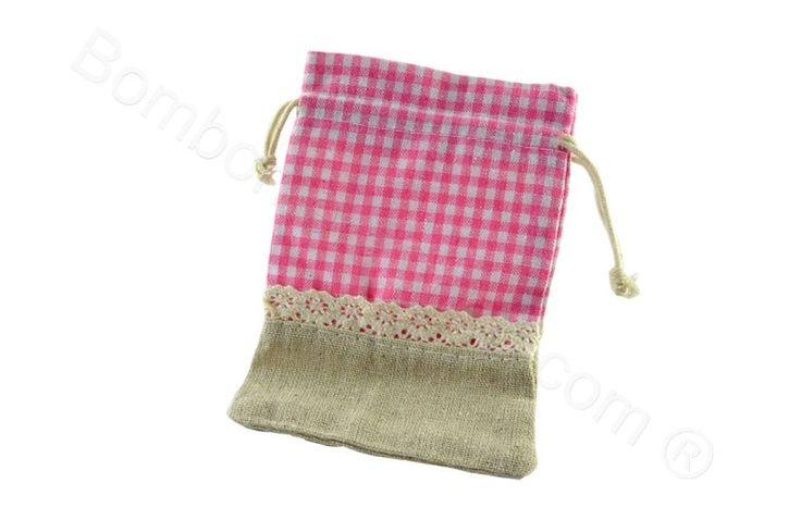 Sacchettino portaconfetti fai da te juta e tessuto quadretti rosa (CB)