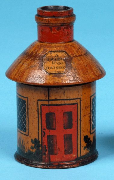 """Tunbridge Ware Cottage Inkwell (England) c. 1820  - A whitewood painted cottage inkwell. Unscrews to reveal a glass inkwell & with a paper label """"A Trifle from Brighton""""."""