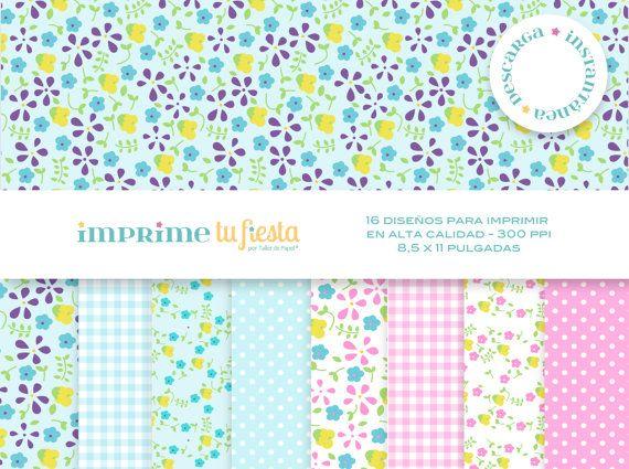 Kit Papeles Digitales Pequeñas Flores.16 Diseños muy lindos para mil usos!