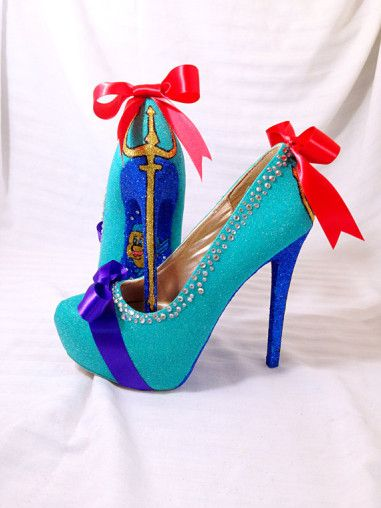 The Little Mermaid heels! Available by Etsy seller AWhimsicalHoot