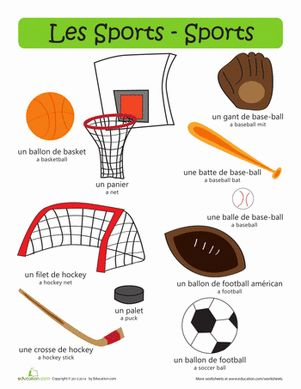 les sports kids printouts sports french language learning french for beginners. Black Bedroom Furniture Sets. Home Design Ideas