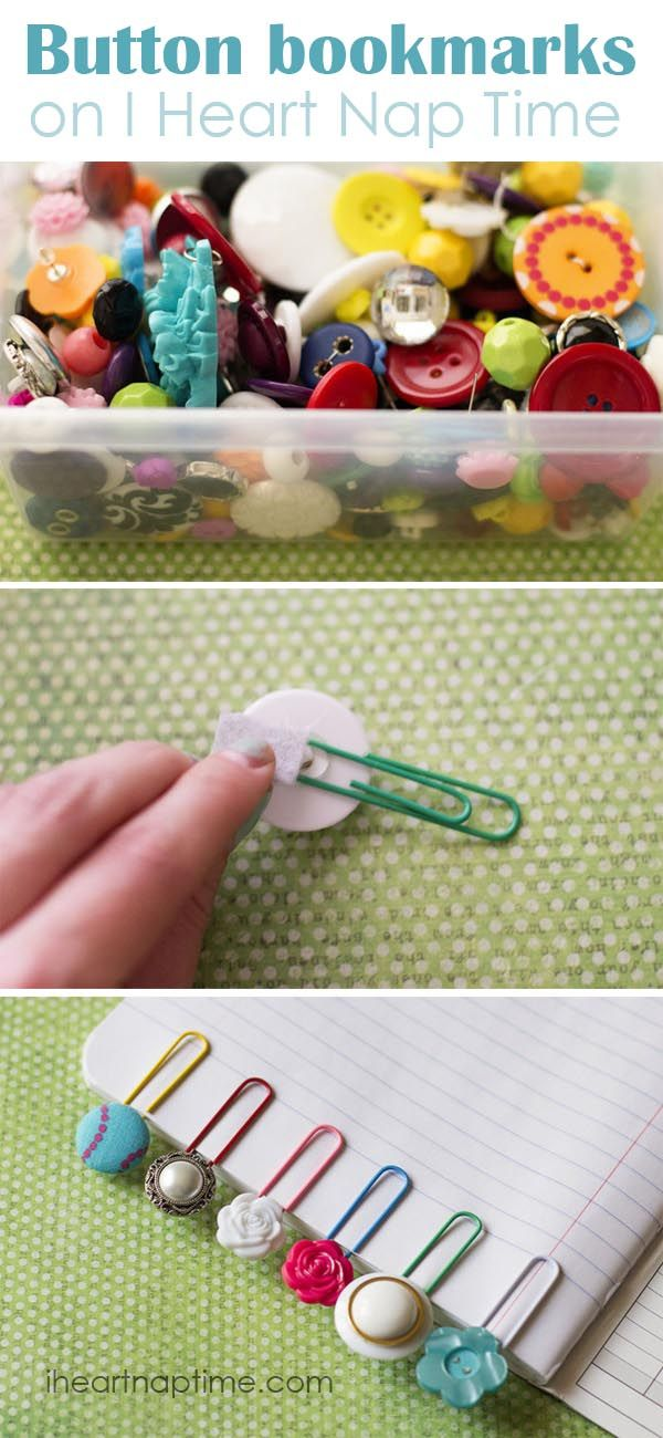 Simple and cute button bookmarks - of course I'd make mine with pink buttons on green paperclips :) Cute as a button(;