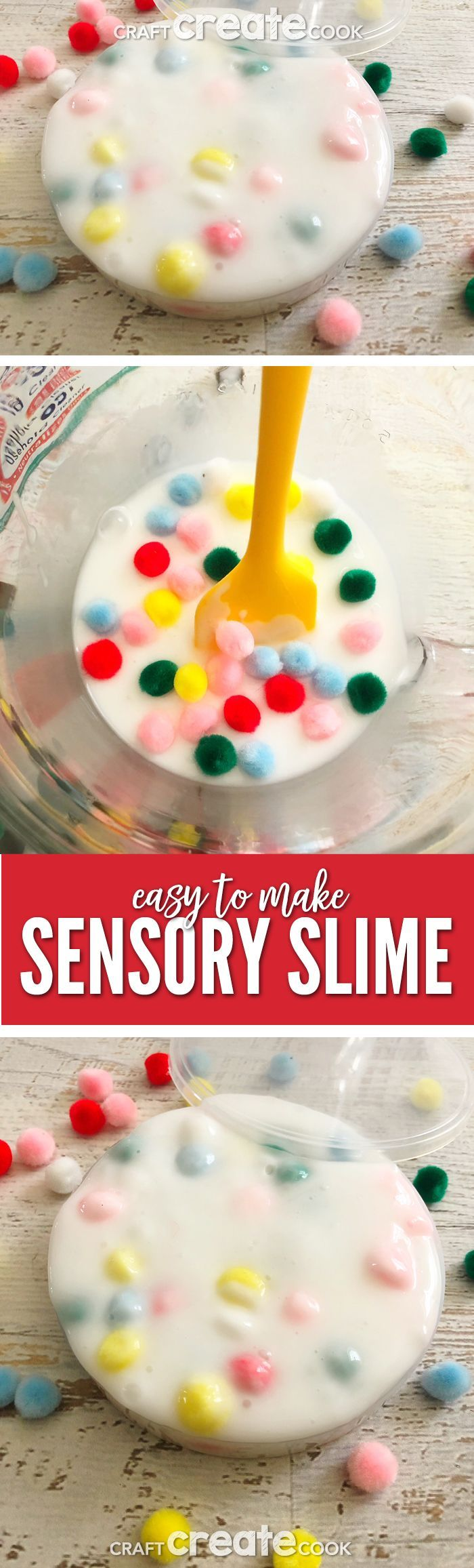 Our Sensory Slime is the perfect gooey slime with colorful pom pom balls for fun. @slime via @CraftCreatCook1