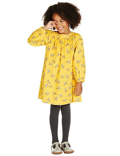 2 Piece Cotton Rich Deer Print Corduroy Dress & Tights Outfit (1- 7 Y) - GBP 18 - 20