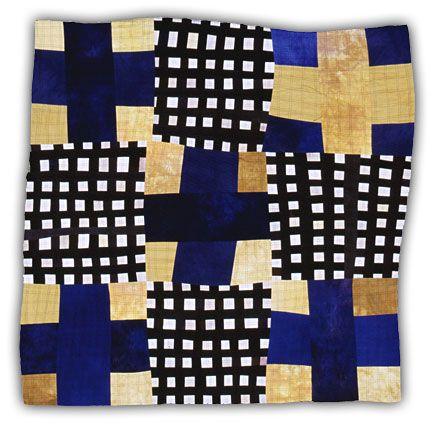 Yellow-Blue 9 Patch 4.  Eleanor McCain, quilt artist
