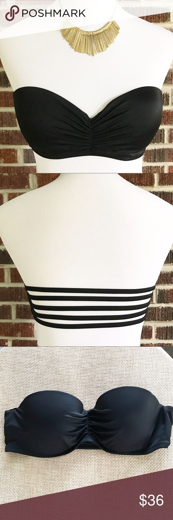 Victoria's Secret Underwire Bandeau Bikini Top Victoria's Secret Black Underwire Push-Up Bandeau Bikini Top in EUC.  It does have a few small picks on the left exterior cup.  It is missing the ties that go around the neck but who uses those anyway.  Pair with any color Bottom.  Would mix well with the Animal Print VS Bikini I have available in my closet.  This is a Top only. Victoria's Secret Swim
