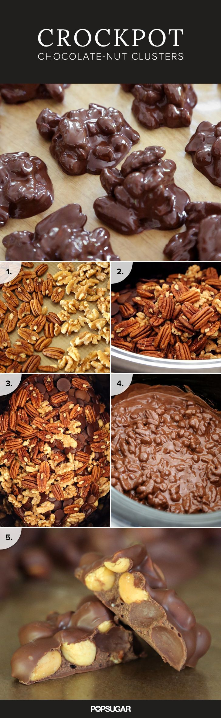 These decadent crockpot candies (chocolate clusters stuffed with nuts) satisfy any chocolate craving and have a crunchy texture. This recipe is also really versatile — use your favorite nuts or chocolates. Make it dairy-free or peanut-free, depending on your family's and friends' needs.