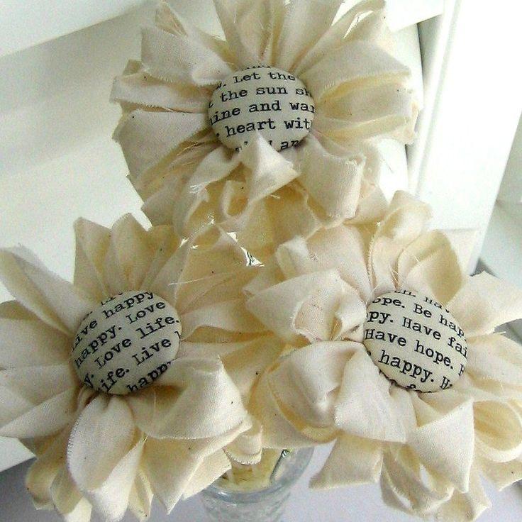 Fabric Flower Wedding Bouquet Tutorial: Fabric Bouquet, Fabric Flowers, Button Flowers, Flower