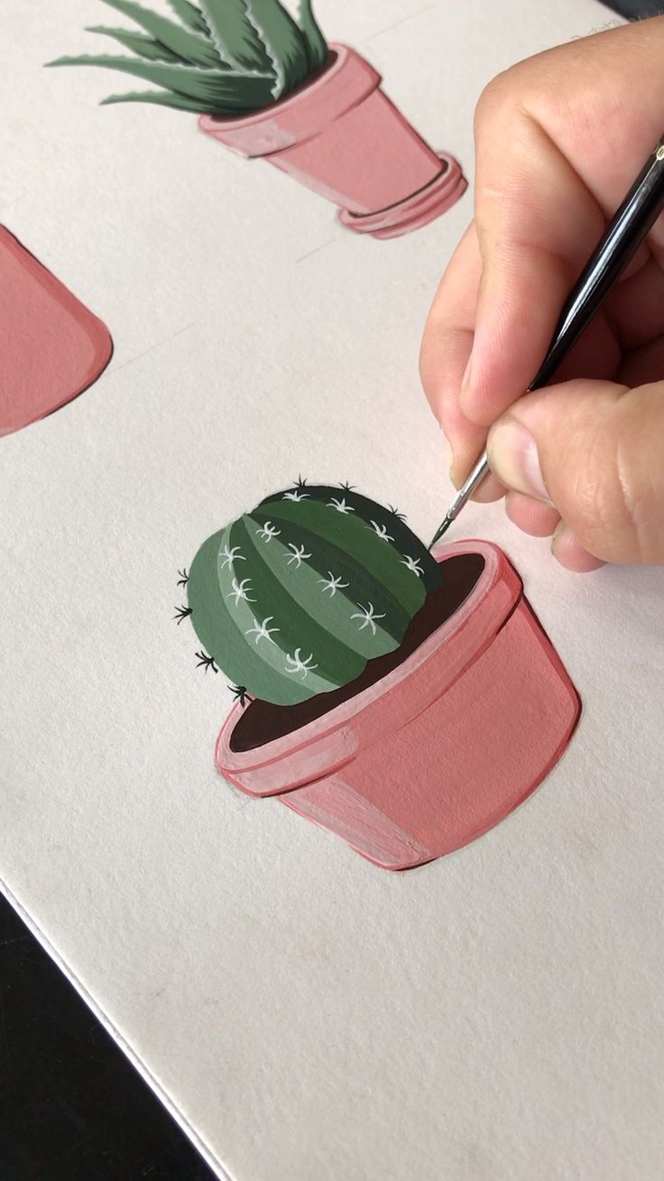 Gouache Painting a lil Potted cactus