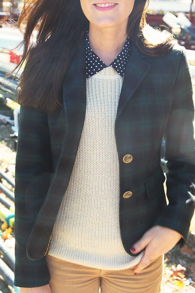 fall plaid, polka dots, and cableknit