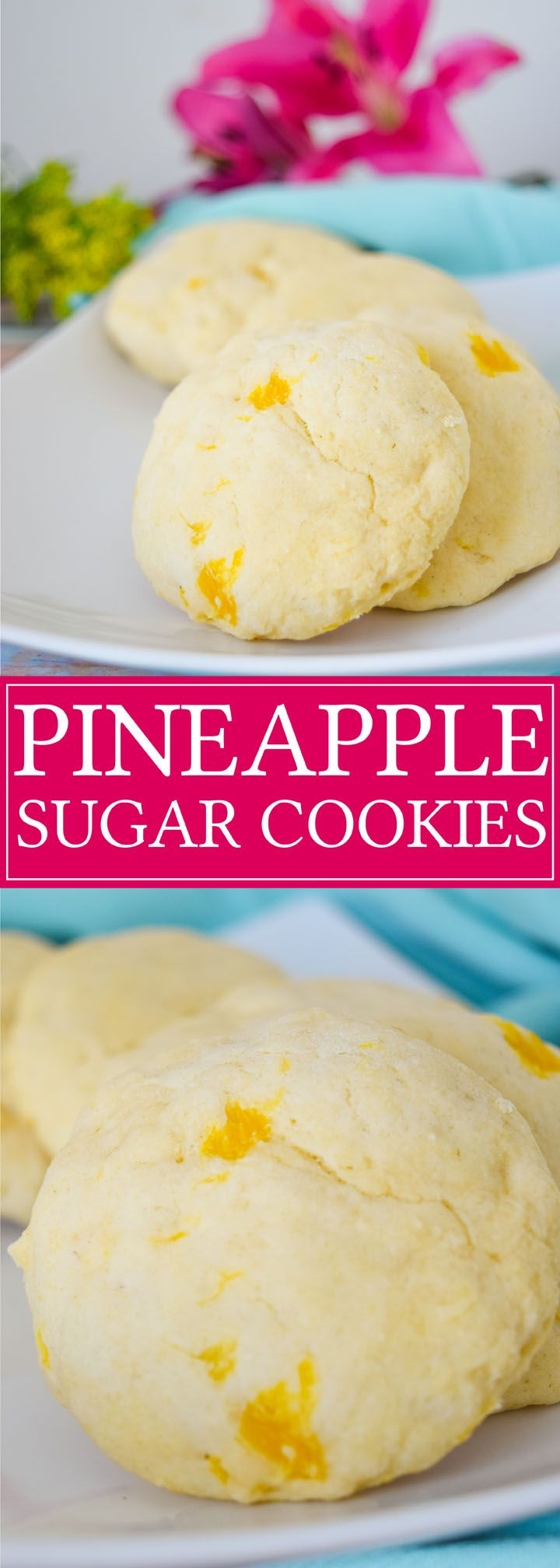 Make these pineapple sugar cookies as a fun alternative to your regular recipe! They are soft and moist with just a hint of pineapple flavor!