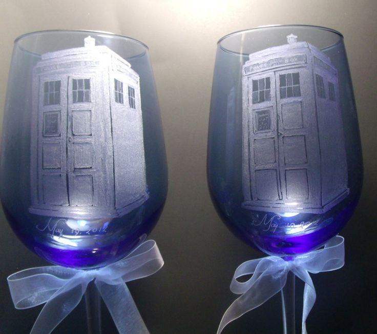 police box tardis style doctor who wedding theme blue wine glasses hand engraved. $48.50, via Etsy.
