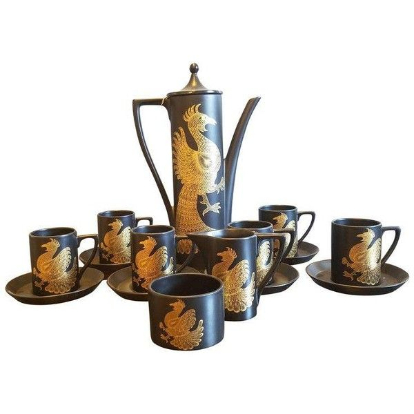Port Meirion Black Pottery Coffee Set - Set of 6 ($200) ❤ liked on Polyvore featuring home, kitchen & dining, serveware, coffee & tea service, tea coffee sugar set, pottery cups, pottery tea cups, black creamer and tea cup