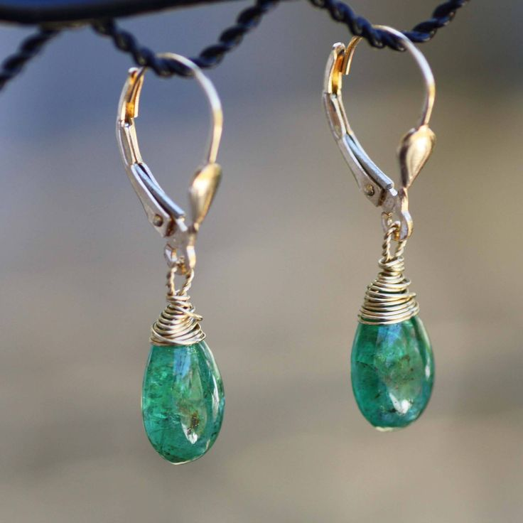 Natural Zambian Emerald Earrings in Solid 18K Yellow Gold , May Birthstone , 20th 55th Anniversary , Smooth Briolette , Lever Back Hinges by MusicalJewels on Etsy