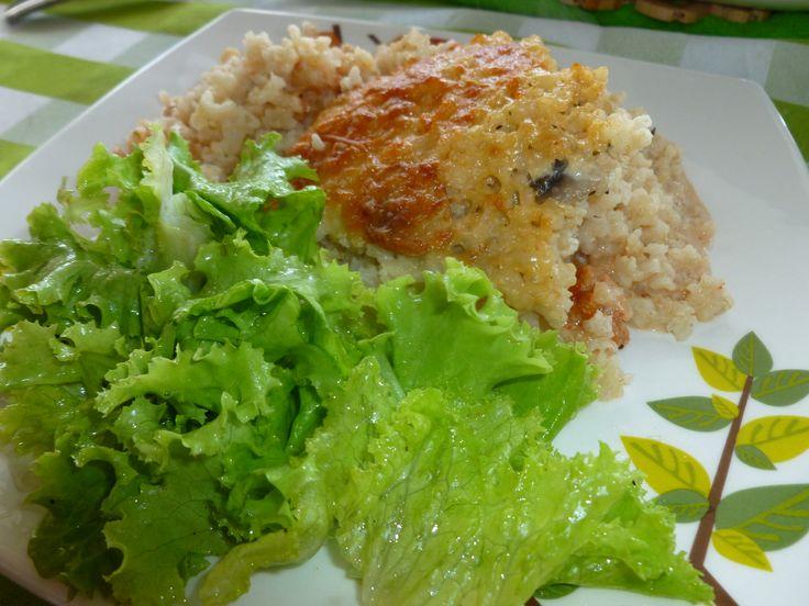 Gratinado de arroz integral, champiñones y berenjenas