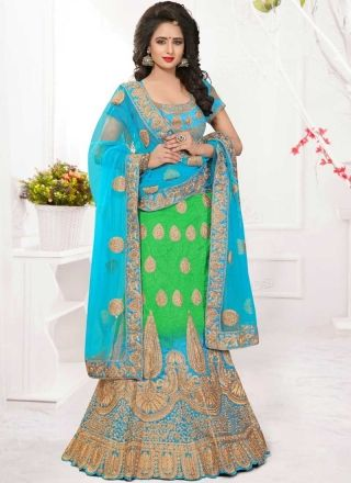 Blue Green Embroidery Work Net Silk Fancy Designer Wedding Lehenga Choli http://www.angelnx.com/Lehenga-Choli/Designer-Lehenga-Choli
