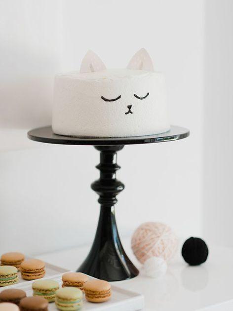 Blog pinhappy bolo de aniversário topper minimalista gatinho
